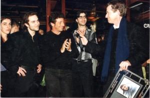 Con Patrick Bruel recogiendo el disco de diamante